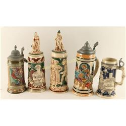 Collection of 5 German Steins