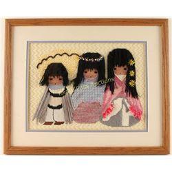 DeGrazia Needlepoint of Three Children