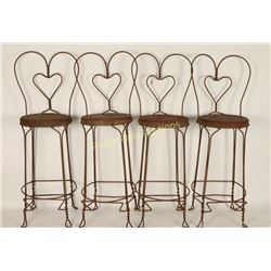 Collection of 4 Heart Back Bar Stools