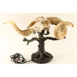 Unusual Ram Skull Table Lamp
