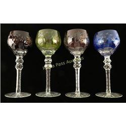 Set of 4 Cut Glass Wine Goblets