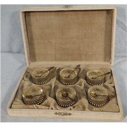Sterling silver salt set, 6 pc. w/ spoons & case