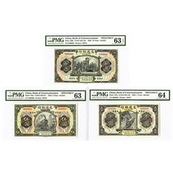 Bank of Communications, Harbin, 1920, Trio of Specimen Notes