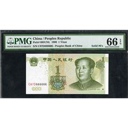Peoples Bank of China, 1999, Yuan with Solid 666666 Serial