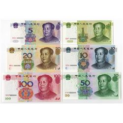 Peoples Republic - Peoples Bank of China, 1999 (1 Yuan) and 2005 dated (5 Yuan to 100 Yuan) Matching