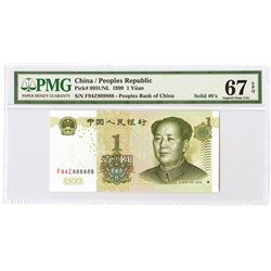 "Peoples Republic - Peoples Bank of China, 1999 Solid ""888888"" Serial Numbers."