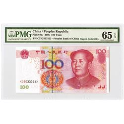 "Peoples Republic - Peoples Bank of China, 2005 Super Solid ""C33G333333"" Serial Numbers."