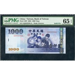 Bank of Taiwan, 2004, 1000 Yuan with Solid 333333 Serial
