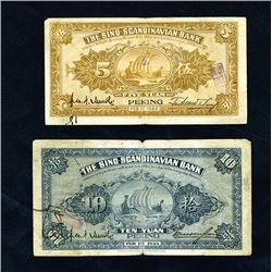 "Sino -Scandinavian Bank, 1922 ""Peking"" Branch Issue pair."