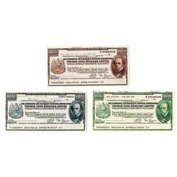 Hongkong and Shanghai Banking Corp., 1975-80, Trio of Traveler's Cheque Proofs