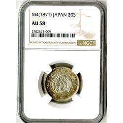 Japan, Empire, 1871, Almost Uncirculated Silver 20 Sen