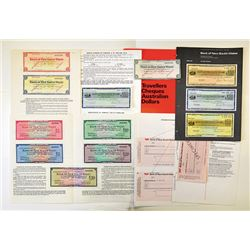 Bank of New South Wales, 1950s-1980s, Group of Specimen Travelers' Checks