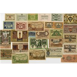 Various German and Austrian Issuers, 1918-1921, Notgeld Lot of 27 Notes