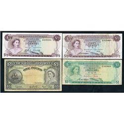 Bahamas Government & Monetary Authority, 1953-68, Quartet of Issued Notes