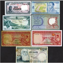 Banque Centrale du Congo Belge et du Ruanda-Urundi, 1957-1967, Lot of 7 Issued Notes