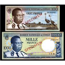 Banque Nationale Du Congo, 1962 to 1964 Specimen Banknote Pair.