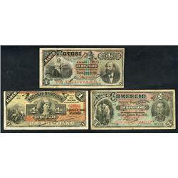 Bolivia Banknote Trio, ca.1887 to 1900.