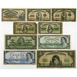 Dominion and Bank of Canada, 1870-1954, Group of 9 Notes