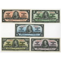 Bank of Canada, 1937, Set of 5 King George VI Notes