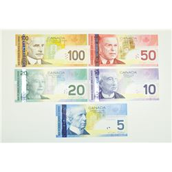 "Bank of Canada, 2004-2009, Set of 5 ""Journey Series"" Notes"