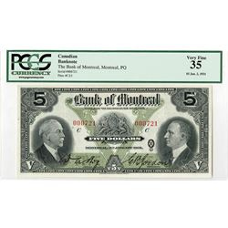 Bank of Montreal, 1931, Issued Low S/N Note