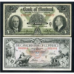 Bank of Montreal & Bank of Commerce, 1935-38, Pair of Issued Notes