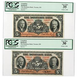 Dominion Bank (Toronto), 1935, Issued Note Pair