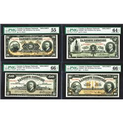 La Banque Nationale, 1922 Issue Specimen Set of 5 notes
