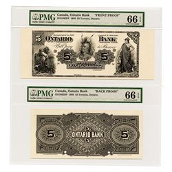 Ontario Bank, $5, 1888 Proof Face and Back Banknotes.