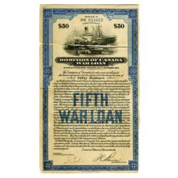 "Dominion of Canada ""Canada's Victory Loan 1918""  Fifth War Loan"