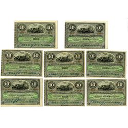 Banco Espanol de la Isla de Cuba, 1896, Group of 8 Issued Notes