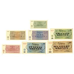Theresienstat Concentration Camp / Ghetto Scrip, 1943, Set of 7 Notes