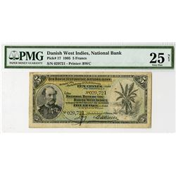 National Bank of the Danish West Indies 1905 Issue Banknote.