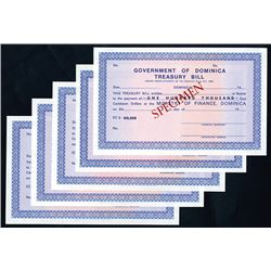 Government of Dominica Treasury Bill, ND (ca.1940-60's) Specimen Assortment.