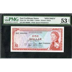 East Caribbean Central Bank, ND (1965) Issue Specimen.