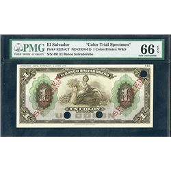 El Banco Salvadoreno, ND (1924-31) Color Trial Specimen Banknote.