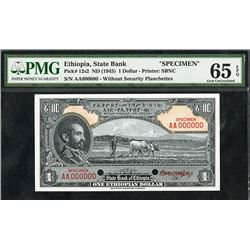 State Bank of Ethiopia, ND (1945) Issue Specimen.