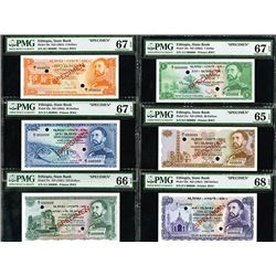 State Bank of Ethiopia, ND 1961 Issue, Set of 6 Specimen Notes