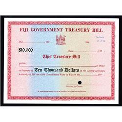 Fiji Government Treasury Bill, ca.1973 Specimen Certificate.