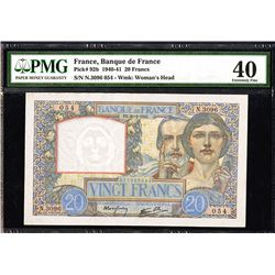 Banque de France, 1940-41 Issue 20 Francs