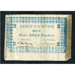 Banque De La Guyane, 1942-45 ND WWII Emergency Issue