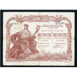 Banque De L'Indo-Chine, 1901 Issued Banknote.