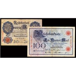 Reichsbanknote, Imperial Bank Note, 1907 Issue Banknote Pair.