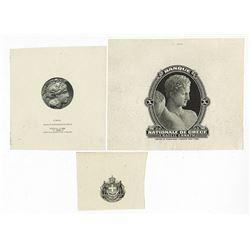 Banque Nationale De Grece Proof Vignette Trio Used on ABN Printed Greek Banknotes.