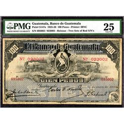 "Banco de Guatemala, 1925 ""Reissue""  Issue Banknote."
