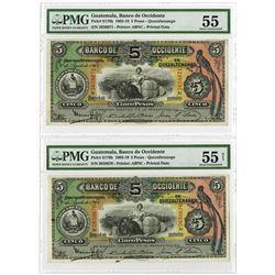 Banco de Occidente en Quezaltenango, 1916 Sequential  Banknote Pair.