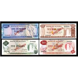 Bank of Guyana. 1966-89 ND Issue. Specimens.