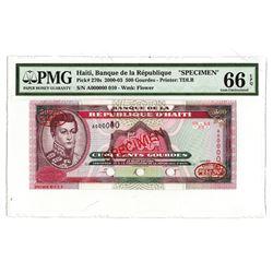 Banque de la  Republique d'Haiti, 2000-2003, Specimen Banknote