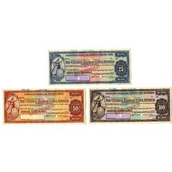 Central Bank of India Ltd., 1936, Trio of Traveler's Cheque Specimens