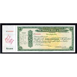Imperial Bank of Persia, 1930 Specimen Traveler's Check.